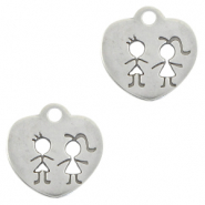 DQ European metal charms heart with children Antique Silver (nickel free)