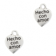 "DQ European metal charms heart ""hecho con amor"" Antique Silver (nickel free)"