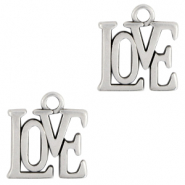 "DQ European metal charms ""love"" Antique Silver (nickel free)"