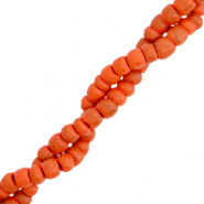 Coconut beads disc 4mm Coral Red