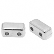 DQ European metal duo beads rectangle Antique Silver (nickel free)