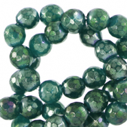 6 mm natural stone faceted beads round Olivine Green-AB Coating