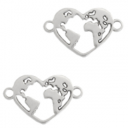 DQ European metal charms connector heart with earth Antique Silver (nickel free)