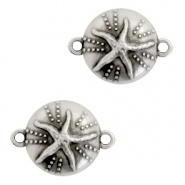 DQ European metal charms connector urchin with seastar round 18mm Antique Silver (nickel free)
