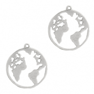 DQ European metal charms earth 28mm Antique Silver (nickel free)