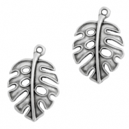 DQ European metal charms leaf Antique Silver (nickel free)