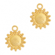 DQ European metal charms sunflower 15mm Gold (nickel free)