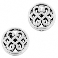 DQ European metal beads flower round 11mm Antique Silver (nickel free)