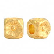 DQ European metal beads flower cube 5mm Gold (nickel free)