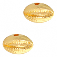 DQ European metal beads Cowrie shell Gold (nickel free)
