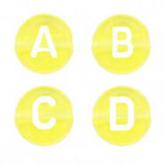 Acrylic letter beads mix Vibrant Yellow Transparent