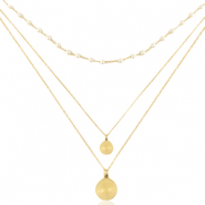 Stainless steel necklaces 3 layer coin & pearl Gold