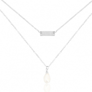 Stainless steel necklaces 2 layer pearl Silver
