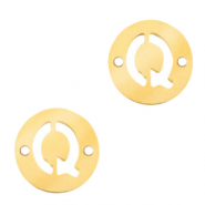 Stainless steel charms connector round 10mm initial coin Q Gold