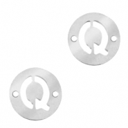 Stainless steel charms connector round 10mm initial coin Q Silver