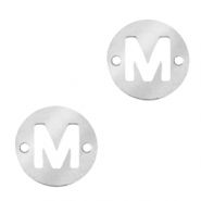 Stainless steel charms connector round 10mm initial coin M Silver