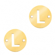 Stainless steel charms connector round 10mm initial coin L Gold