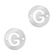 Stainless steel charms connector round 10mm initial coin G Silver