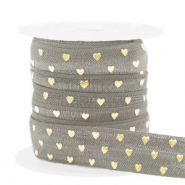 Elastic ribbon hearts Taupe-Gold