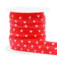Elastic ribbon hearts Red-Silver