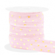 Elastic ribbon hearts Light Pink-Gold