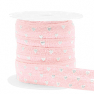 Elastic ribbon hearts Light Pink-Silver