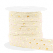 Elastic ribbon hearts Silk White-Gold