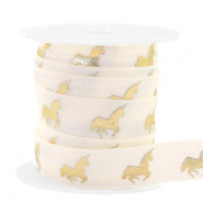 Elastic ribbon unicorn Silk White-Gold