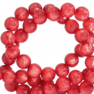 Polaris beads round 6 mm Mosso shiny Flame Scarlet Red