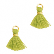 Tassels 1cm Gold-Light Olive Green