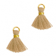 Tassels 1cm Gold-Camel Brown