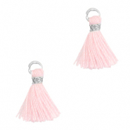 Tassels 1cm Silver-Light Pink