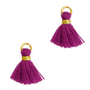 Tassels 1cm Gold-Aubergine Purple