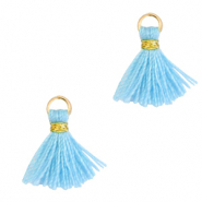 Tassels 1cm Gold-Light Blue