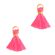 Tassels 1cm Gold-Hot Pink