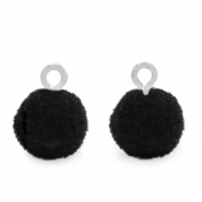 Pompom charms with loop 10mm Silver-Black