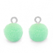 Pompom charms with loop 10mm Silver-Green Ash