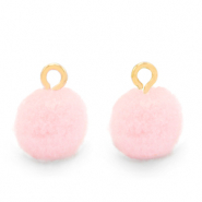 Pompom charms with loop 10mm Gold-Soft Pink