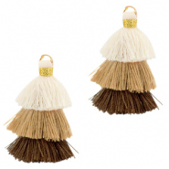 Tassels 3-layer 3.2cm Gold-Multicolour Brown