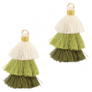 Tassels 3-layer 3.2cm Gold-Multicolour Green
