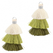 Tassels 3-layer 3.2cm Silver-Multicolour Green