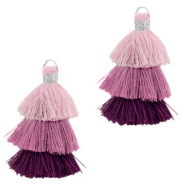 Tassels 3-layer 3.2cm Silver-Multicolour Purple