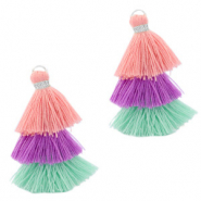 Tassels 3-layer 3.2cm Silver-Multicolour Green Purple