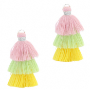 Tassels 3-layer 3.2cm Silver-Multicolour Yellow Green