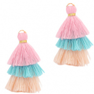 Tassels 3-layer 3.2cm Gold-Multicolour Turquoise Pink