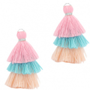 Tassels 3-layer 3.2cm Silver-Multicolour Turquoise Pink