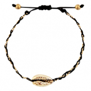 Ready-made Bracelets Cowrie braided Black-Gold
