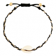 Ready-made Bracelets Cowrie braided Black