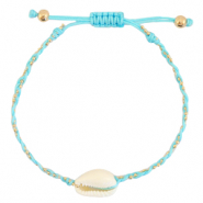 Ready-made Bracelets Cowrie braided Light Turquoise Blue