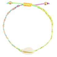 Ready-made Bracelets Cowrie braided Neon Rainbow